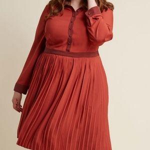 Modcloth Pleated Rust Orange Dress 1X with Pockets